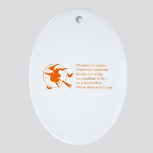 women-broomstick-orange Ornament (Oval)