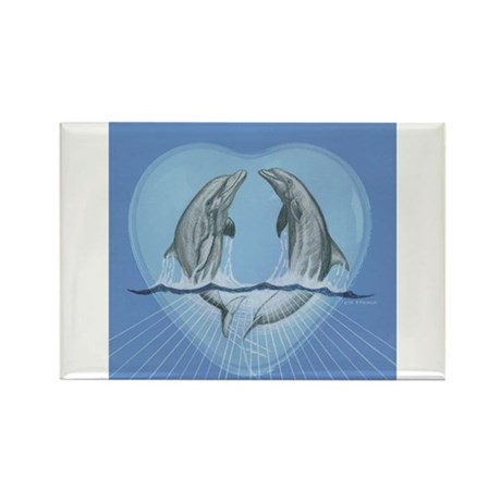 Dolphin Heart Rectangle Magnet