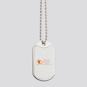 women-broomstick-orange Dog Tags