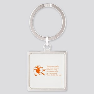 women-broomstick-orange Keychains