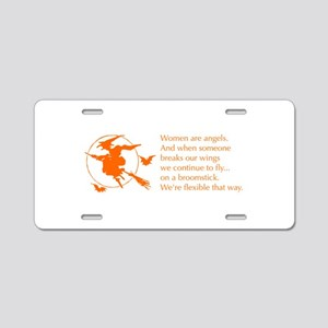 women-broomstick-orange Aluminum License Plate