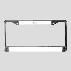 women-broomstick-orange License Plate Frame