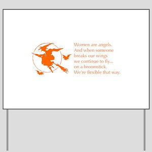 women-broomstick-orange Yard Sign