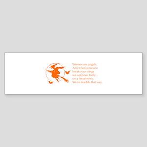 women-broomstick-orange Bumper Sticker