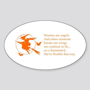 women-broomstick-orange Sticker