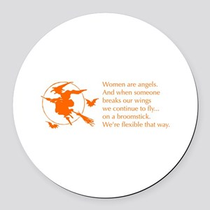 women-broomstick-orange Round Car Magnet