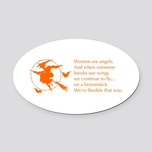 women-broomstick-orange Oval Car Magnet