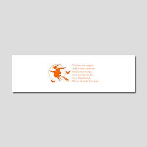 women-broomstick-orange Car Magnet 10 x 3