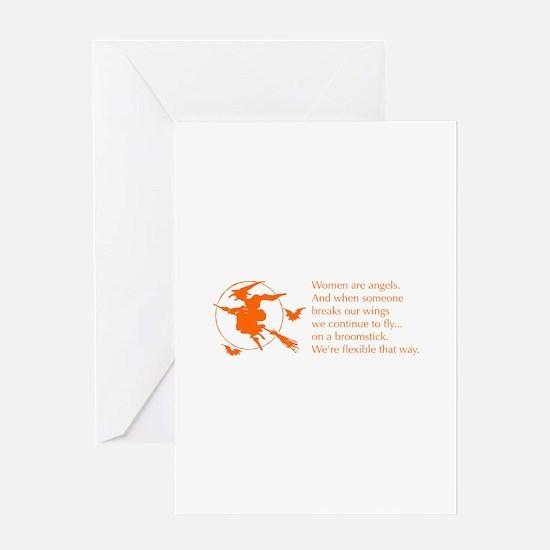 women-broomstick-orange Greeting Cards