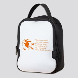 women-broomstick-orange Neoprene Lunch Bag