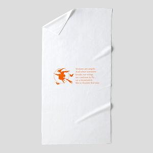 women-broomstick-orange Beach Towel
