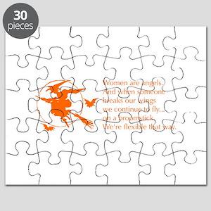 women-broomstick-orange Puzzle