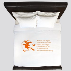 women-broomstick-orange King Duvet