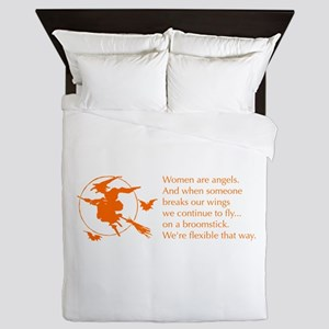 women-broomstick-orange Queen Duvet