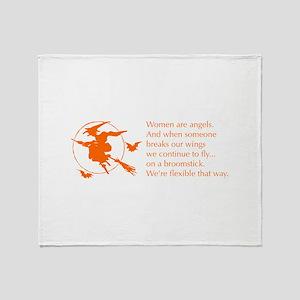 women-broomstick-orange Throw Blanket