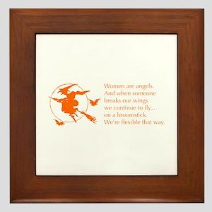 women-broomstick-orange Framed Tile