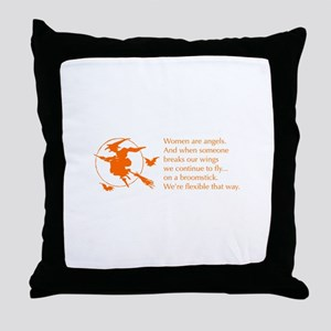 women-broomstick-orange Throw Pillow