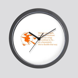women-broomstick-orange Wall Clock