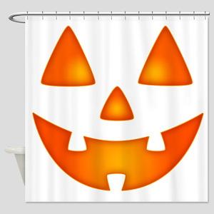 Happy Pumpkin Face Shower Curtain