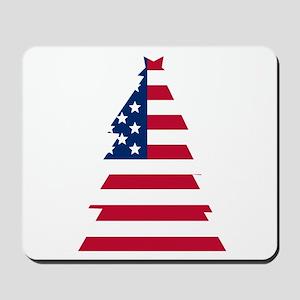 American Flag Christmas Tree Mousepad