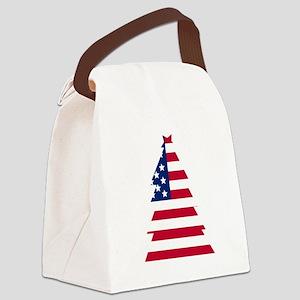 American Flag Christmas Tree Canvas Lunch Bag
