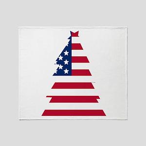 American Flag Christmas Tree Throw Blanket