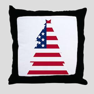 American Flag Christmas Tree Throw Pillow