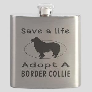 Adopt A Border Collie Dog Flask