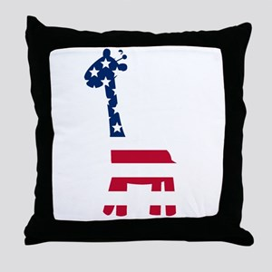 American Flag Giraffe Throw Pillow