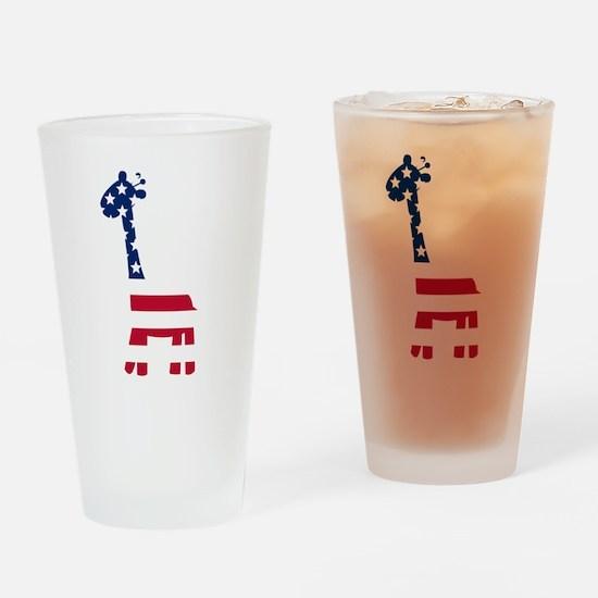 American Flag Giraffe Drinking Glass