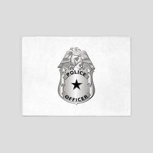 Gov - Police Officer Badge 5'x7'Area Rug