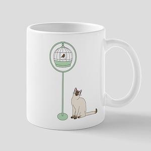 Cat and Bird Mugs