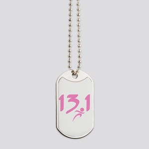 Pink 13.1 half-marathon Dog Tags