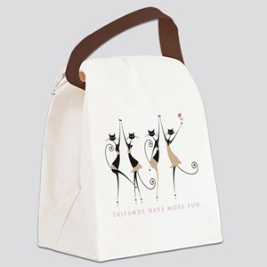 Fun Tripawd Cats Dancing Canvas Lunch Bag