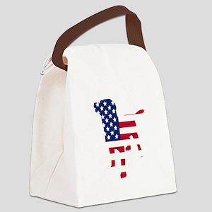 American Flag Dog Canvas Lunch Bag