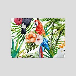 Watercolor Parrots 5'x7'Area Rug
