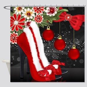Stylish Christmas Shoes Shower Curtain