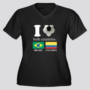 BRAZIL-COLOMBIA Women's Plus Size V-Neck Dark T-Sh