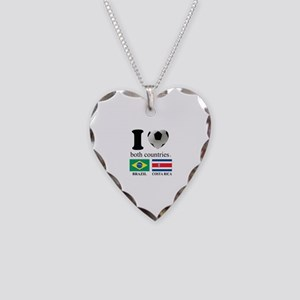BRAZIL-COSTA RICA Necklace Heart Charm