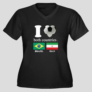 BRAZIL-IRAN Women's Plus Size V-Neck Dark T-Shirt