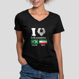 BRAZIL-IRAN Women's V-Neck Dark T-Shirt