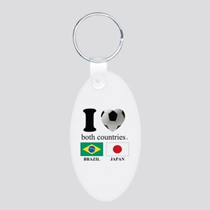 BRAZIL-JAPAN Aluminum Oval Keychain