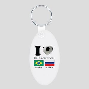 BRAZIL-RUSSIA Aluminum Oval Keychain