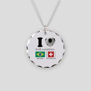BRAZIL-SWITZERLAND Necklace Circle Charm