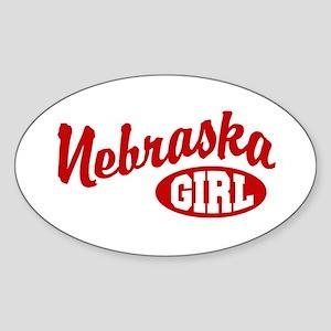 Nebraska Girl Oval Sticker