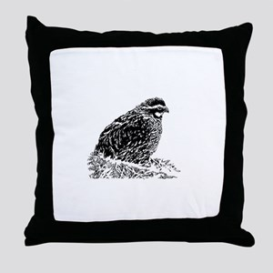 Bobwhite Quail (line art) Throw Pillow