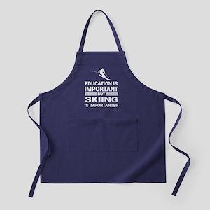 Education Important But Skiing Import Apron (dark)
