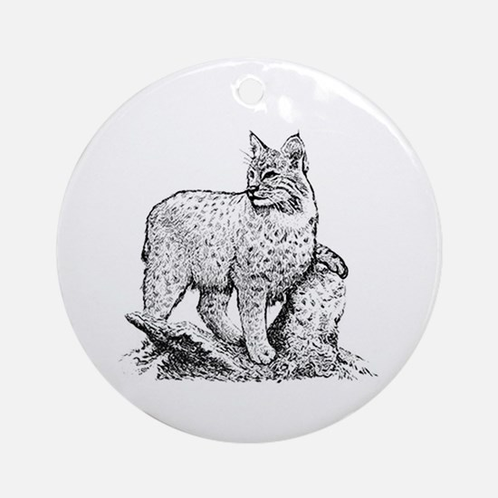 Bobcat (line art) Ornament (Round)