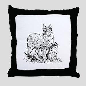 Bobcat (line art) Throw Pillow