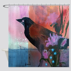 Hello Crow Shower Curtain